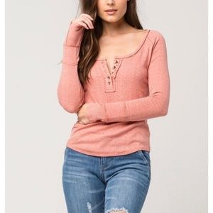 Free People Womens Sugar and Spice Henley Pink